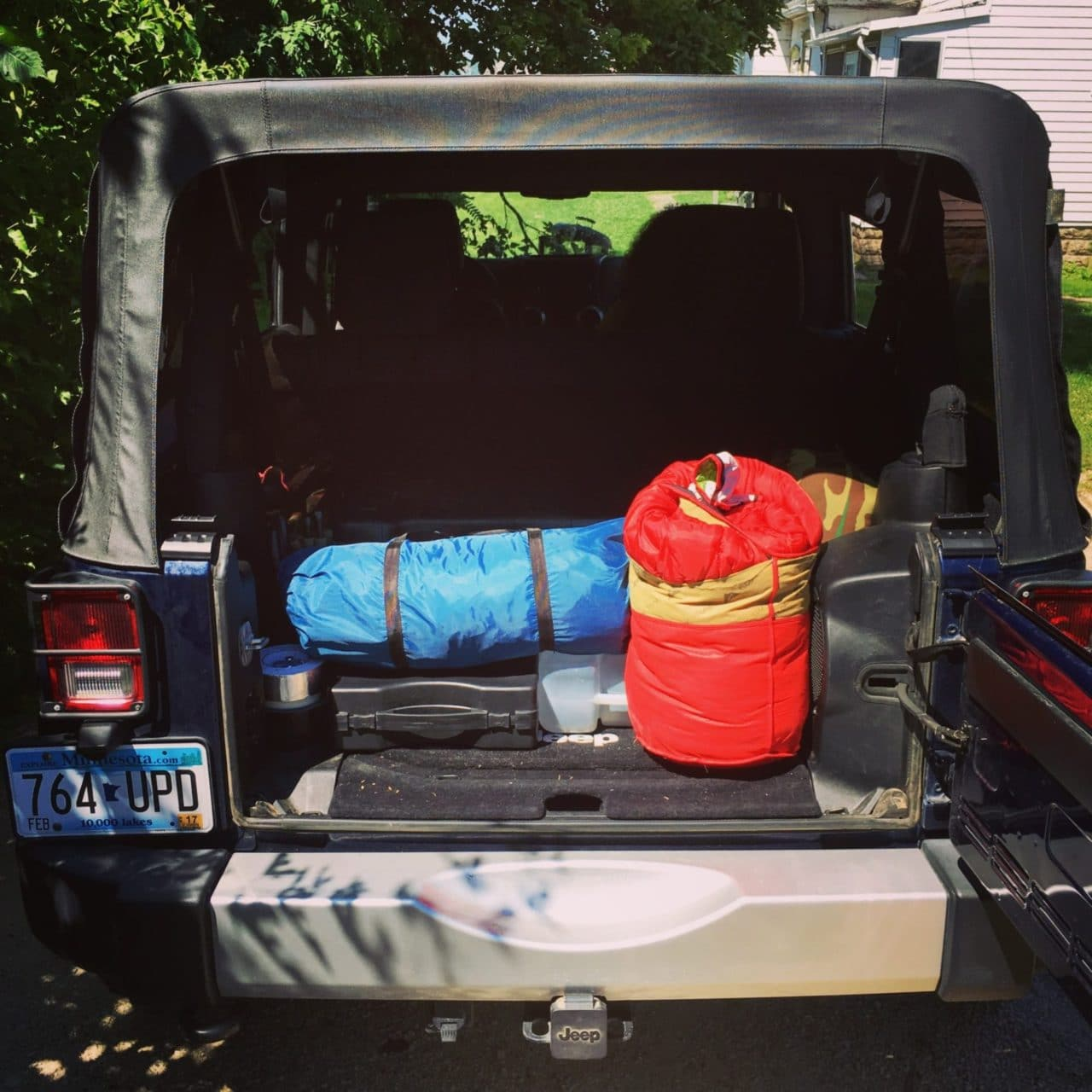 Jeep packed up with gear